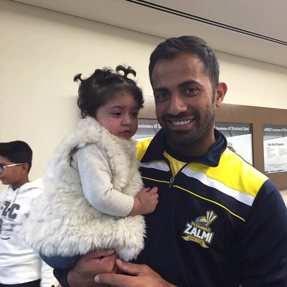 Wahab Riaz with his beautiful daughter