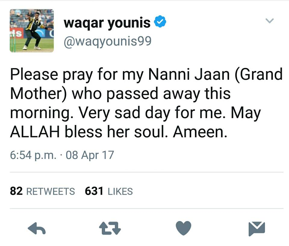 Waqar Younis Tweet About His Grand Mother