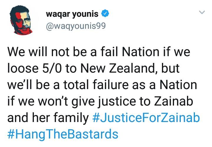 Waqar Younis Tweeted About Zainab
