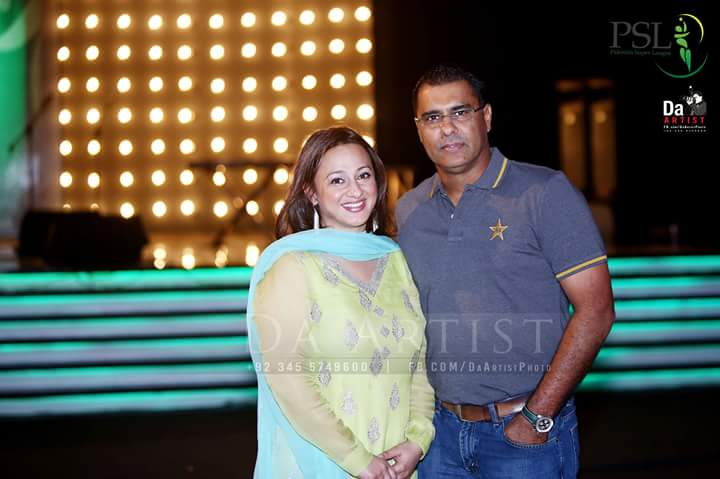 Waqar Younis With Wife in PSL