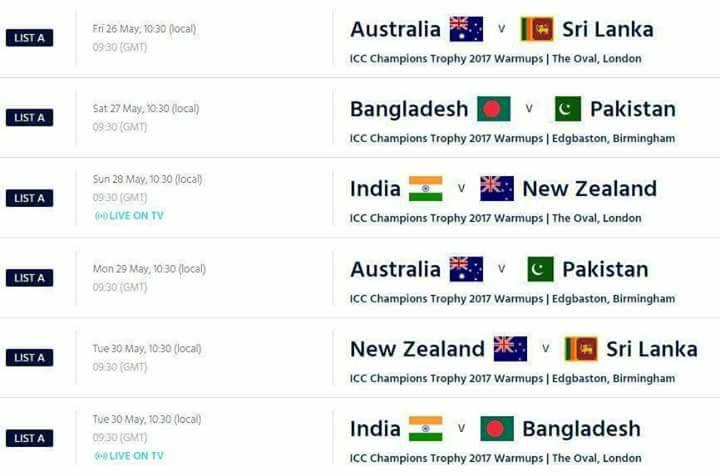Warm Up Fixtures For Champions Trophy 2017