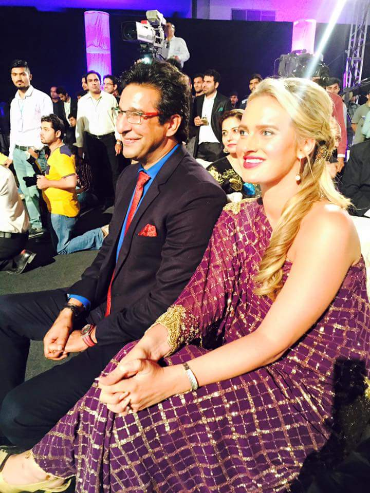 Waseem Akram With Wife at PSL Launch