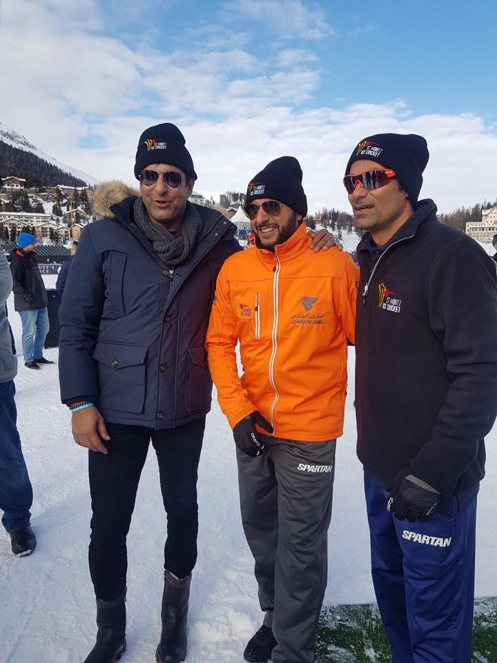 Wasim Akram, Afridi & Mohammad Kaif In Switzerland For Ice Cricket Challenge