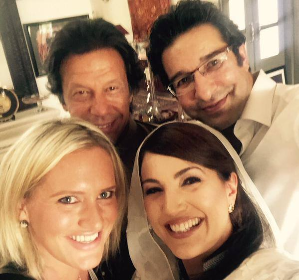 Wasim Akram And Imran Khan Selfie With Wife