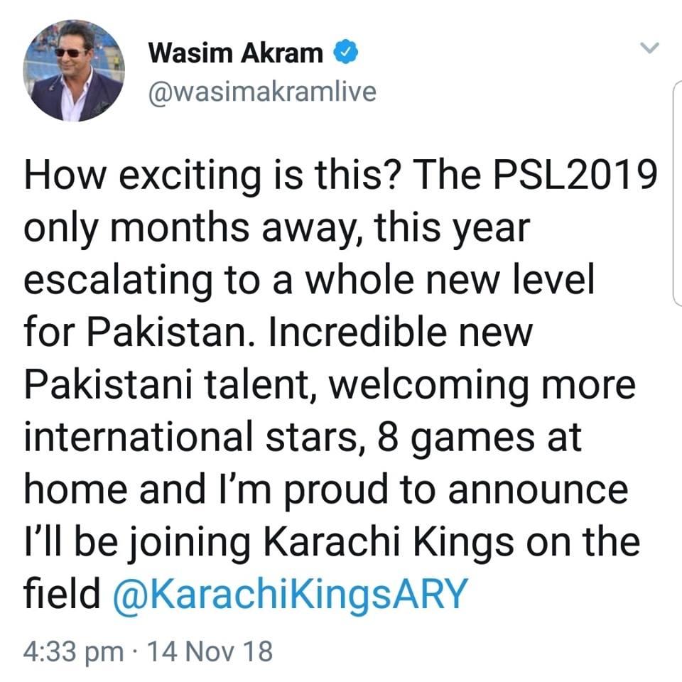Wasim Akram Has Joined Karachi Kings For Upcoming PSL