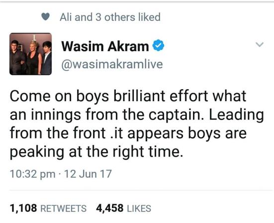 Wasim Akram Tweet About Sarfraz