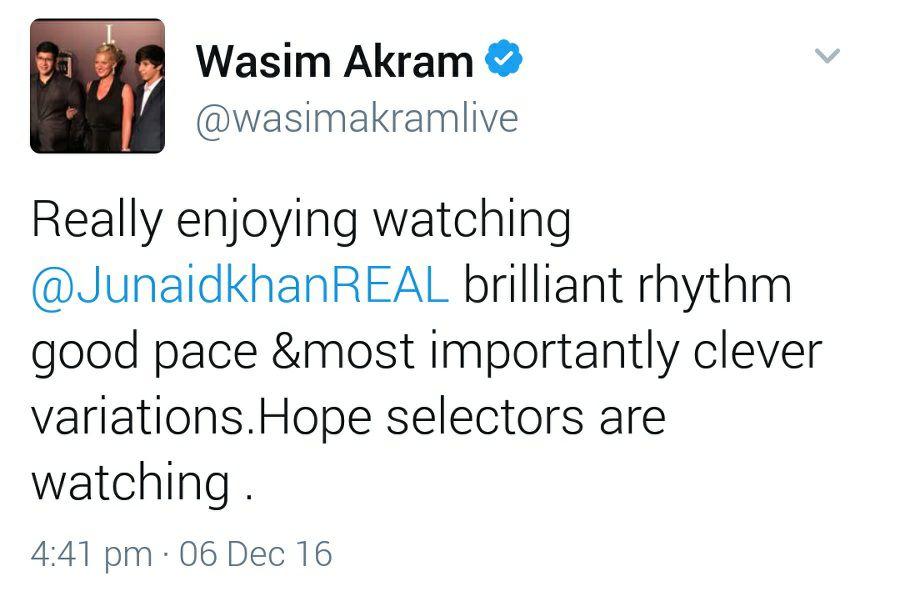Wasim Akram Tweet Regarding Junaid Khan Performance