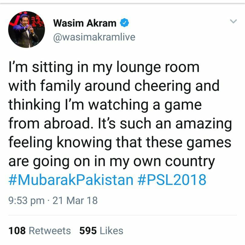 Wasim Akram Tweeted About PSL Match In Lahore