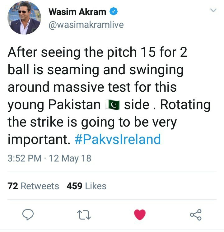 Wasim Akram Tweets About Pak vs Ireland Test Pitch