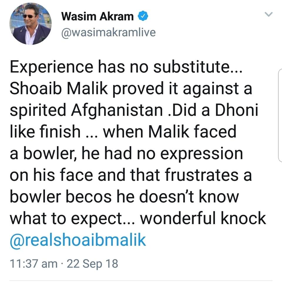 Wasim Akram Tweets On Malik Performance Against Afghanistan