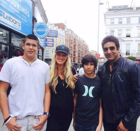 Wasim Akram With Family In UK