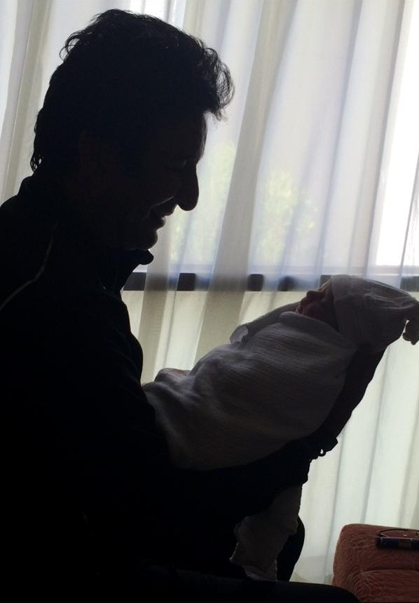 Wasim Akram With His Newborn Baby Girl
