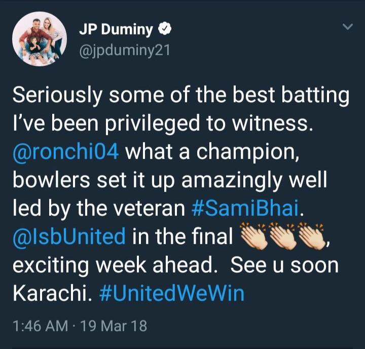 Welcome To Pakistan, JP Duminy