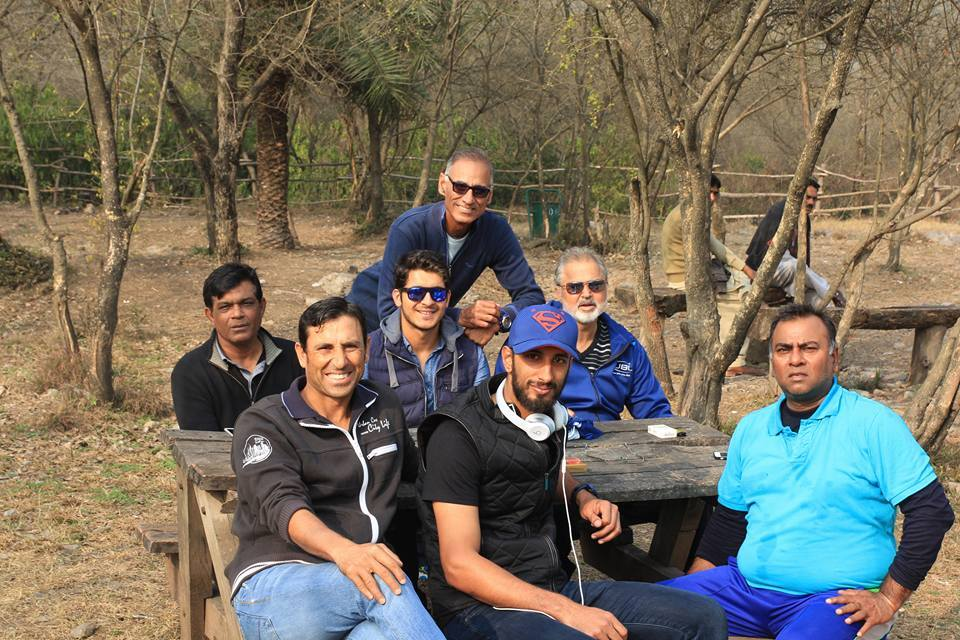 Younis Khan, Shan Masood and other former cricketers pictured today at Margalla Hills, Islamabad