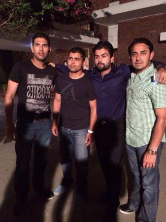Yuvraj Singh, Kamran Akmal, Ahmad Shahzad and Saeed Ajmal at Dhaka