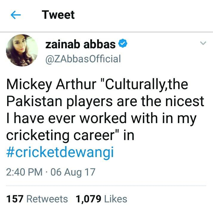 Zainab Abbas Tweet About Mickey Arthur