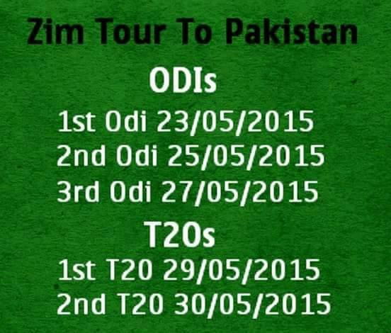 Zimbabwe's Tour To Pakistan