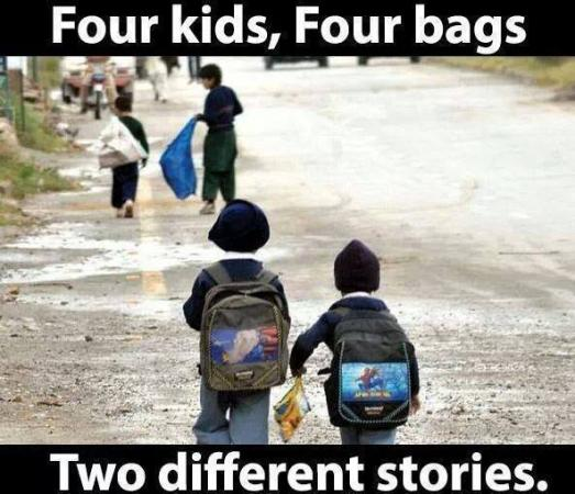 Four Kids, Four Bags, 2 different stories