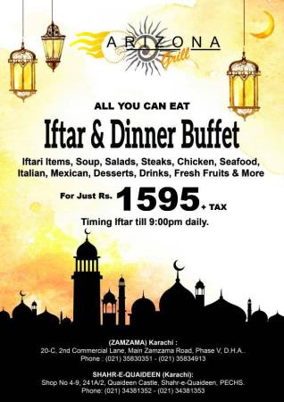 Arizona Grill Iftar And Sehri Deals 2018