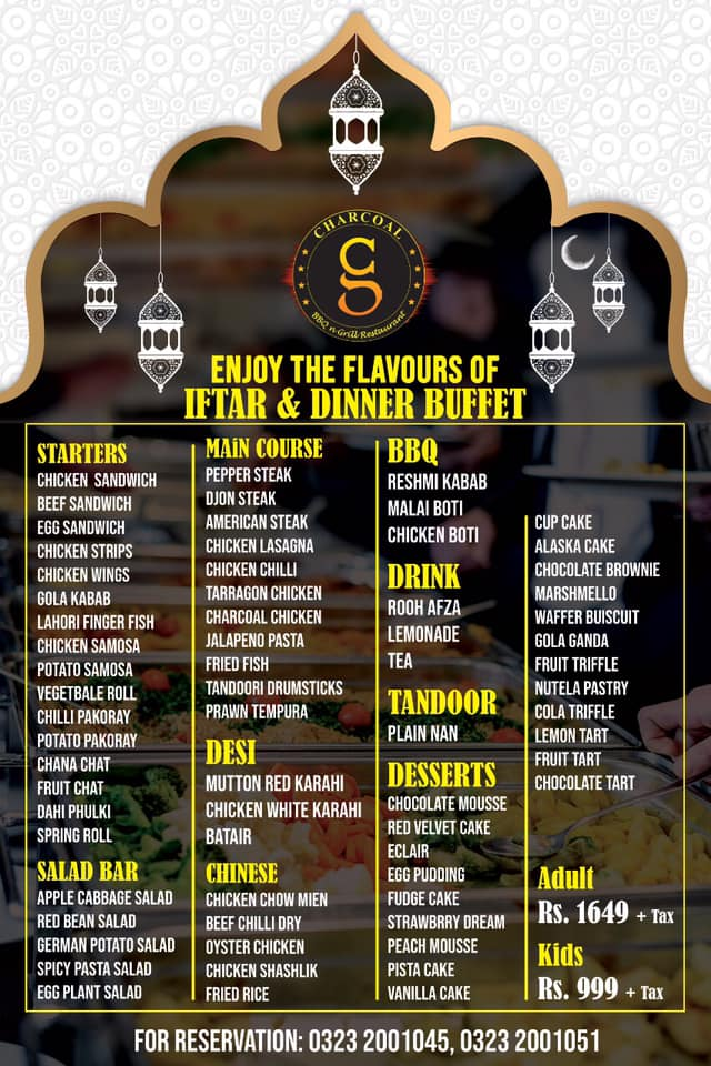 Charcoal BBQ N Grill Restaurant Iftar Buffet Deal 2019