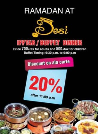 Desi Restaurant Iftar And Sehri Deals 2018