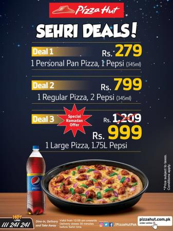 Pizza Hut Iftar And Sehri Deals 2018