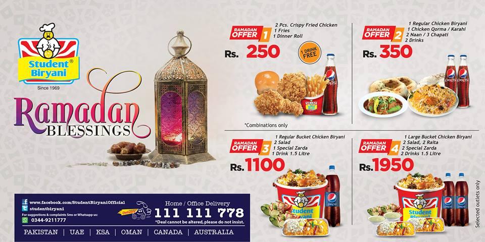 Student Biryani Iftar & Sehr Deals 2017
