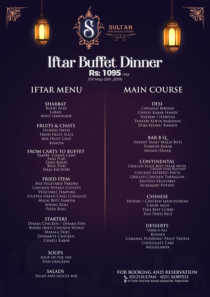 Sultan - The Royal Eatery Iftar Buffer Dinner 2019