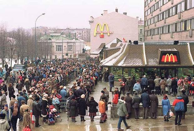 The first McDonalds opened in 1990 in Moscow...huge lines