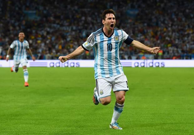 Argentina Captain Lionel Messi Celebrates Scoring