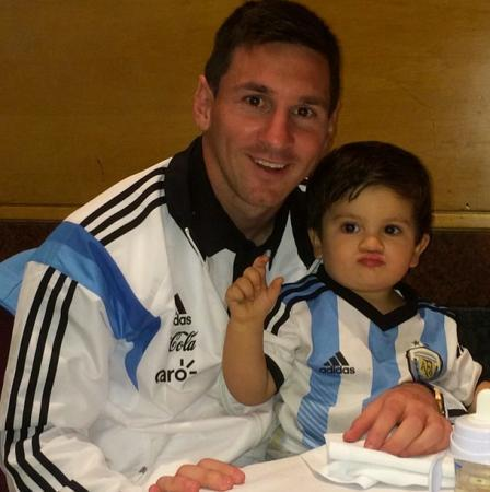 Lionel Messi With His Son