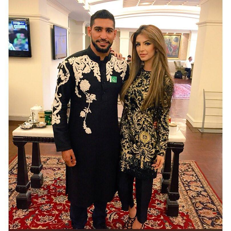Amir Khan And Faryal Makhdoom Wearing Ali Xeeshan