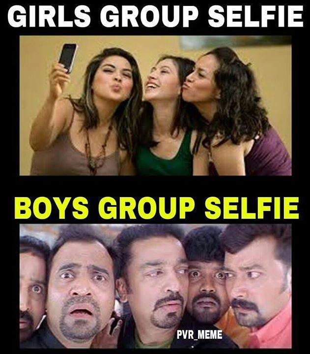 Girls Group Selfie Vs Boys Group Selfie