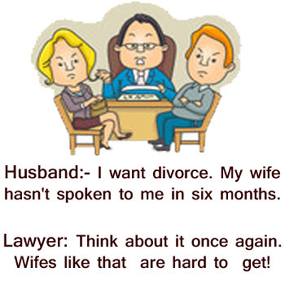 Husband Wife Taking Divorce Funny Lawyer Joke