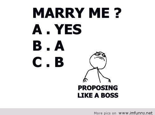 Marriage proposing like a boss
