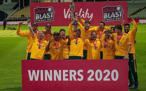 Nottinghamshire Lifted The Trophy Of Vitality Blast 2020