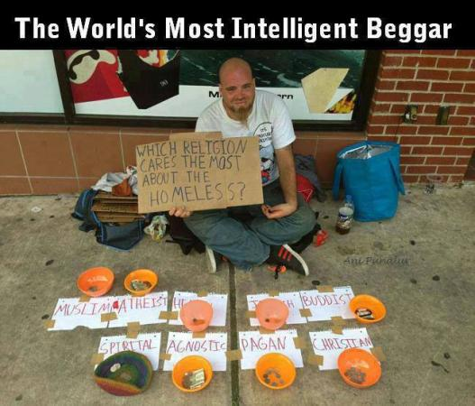 Most Funniest Pictures In The World For Facebook : The Worlds Most Intelligent Begger - Funny Images & Photos