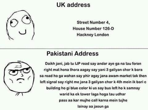 Uk Address vs Pak Address