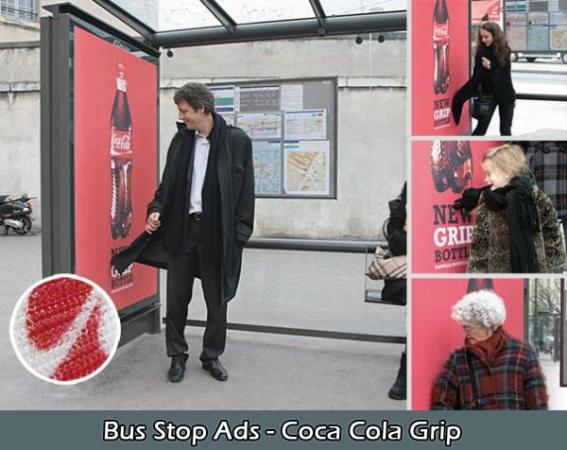 bus stop ads-coca cola grip