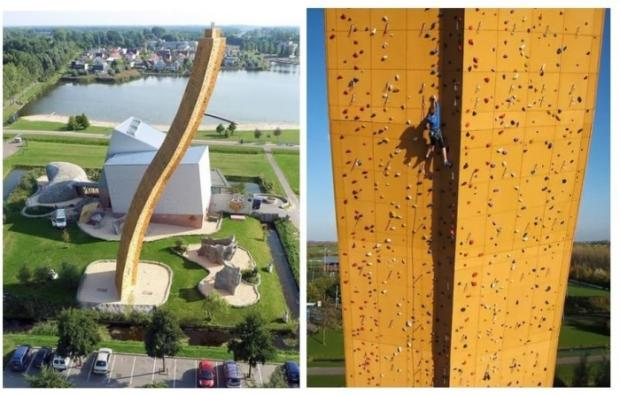 World's largest rock-climbing wall in Groningen, Netherlands