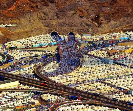 Sky View Picture of all the People Performing Hajj