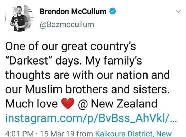 Brendon McCullum Tweet On Today's Terrorists Attacks
