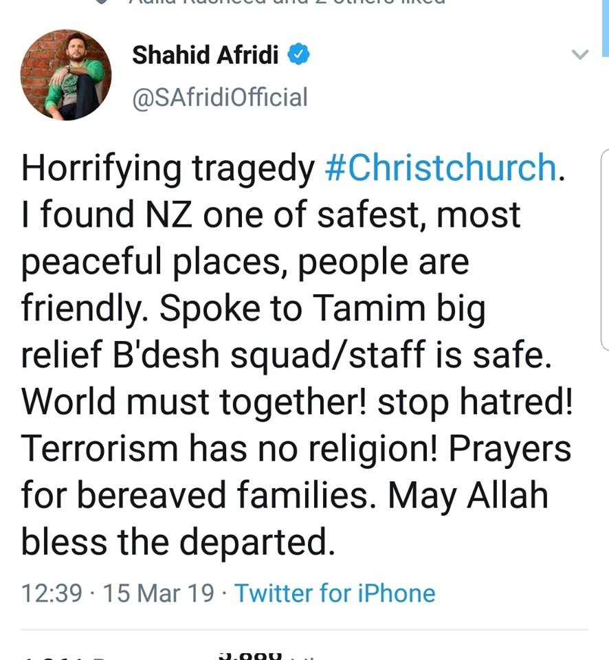 Shahid Afridi Tweets For The Terrorist Attack In Christchurch
