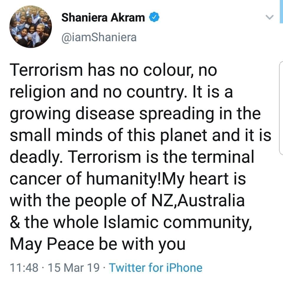 Shaniera Akram Tweets For The Terrorist Attack