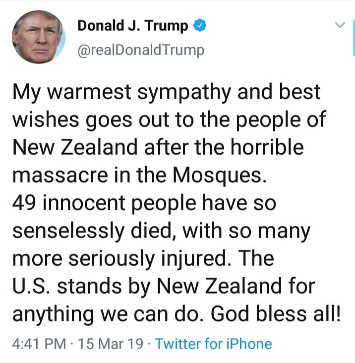 US President Donald Trump Has Condemned The Terrorist Attack In Christchurch