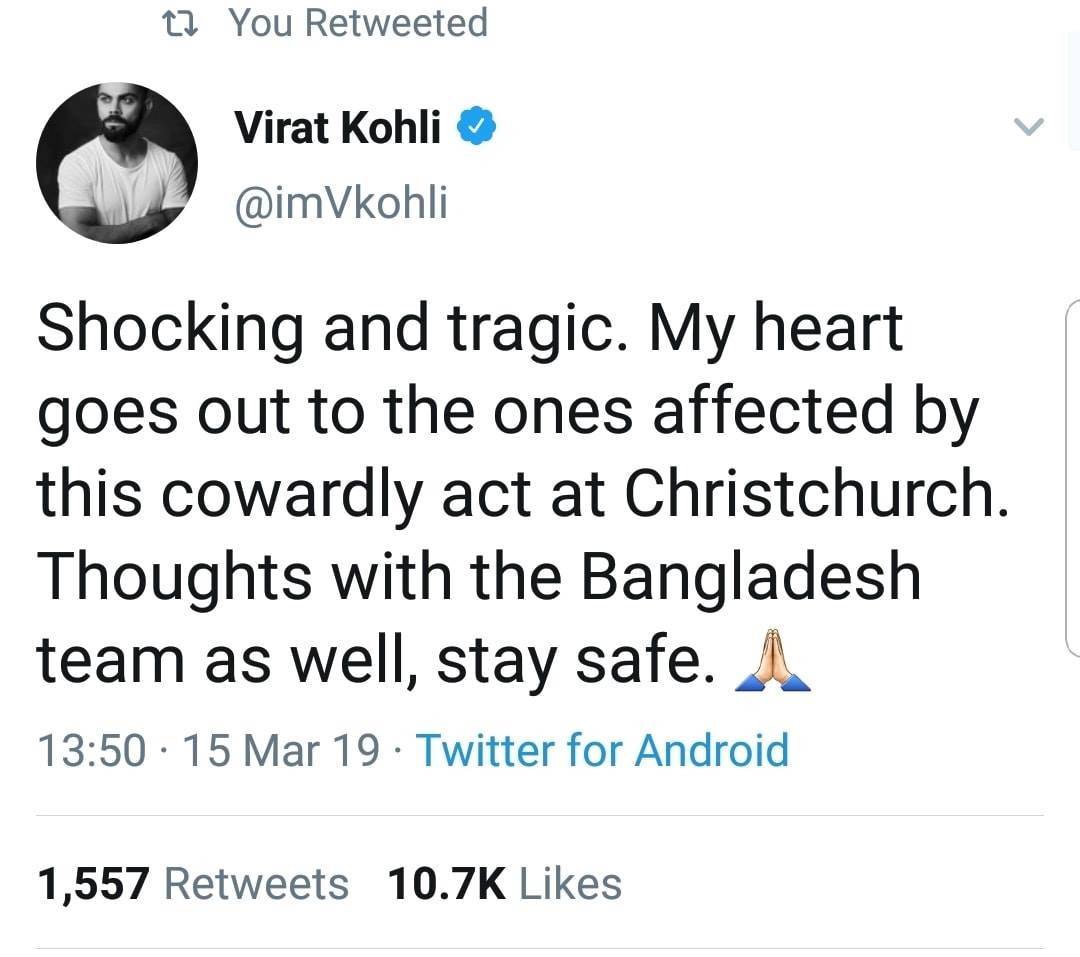 Virat Kohli Tweets On The Tragic Incident