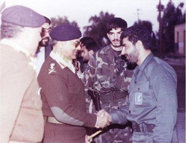 Young Qassem Suleimani Shaking Hands With Gen. Mirza Aslam Baig In The 1980s