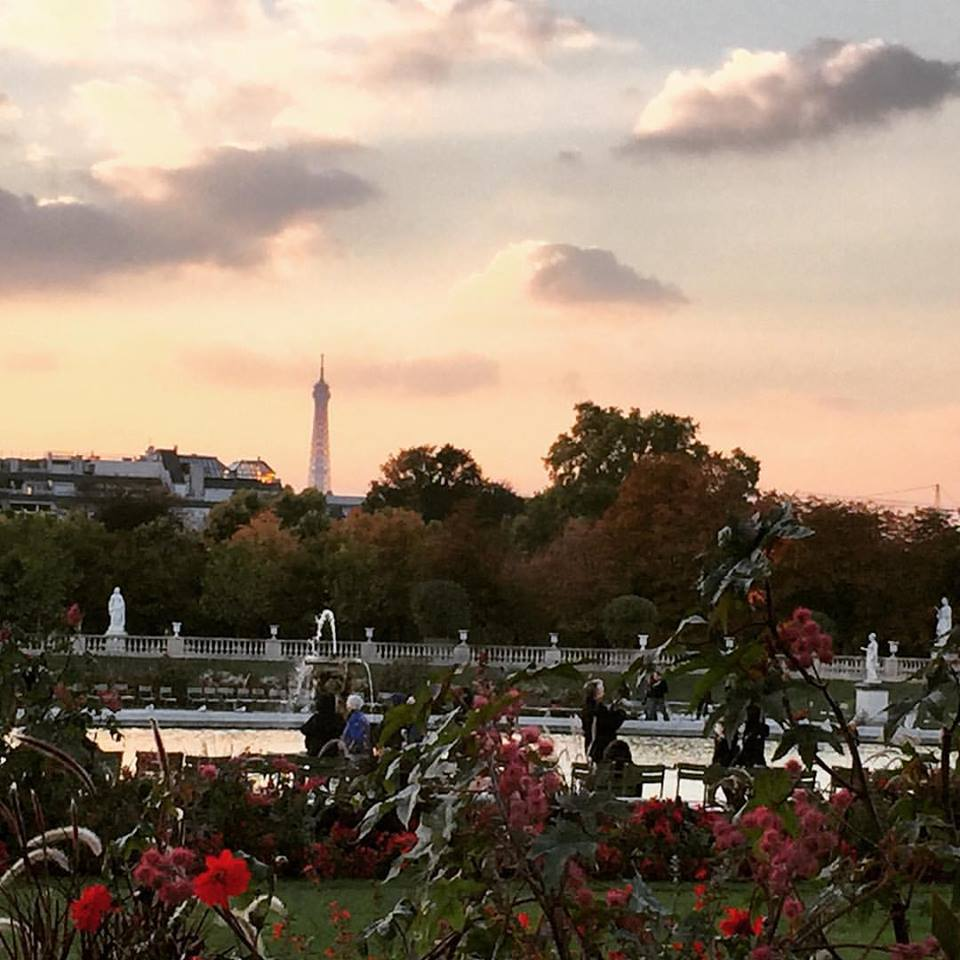 View of Eiffel from Louvre Garden Mid Sunset