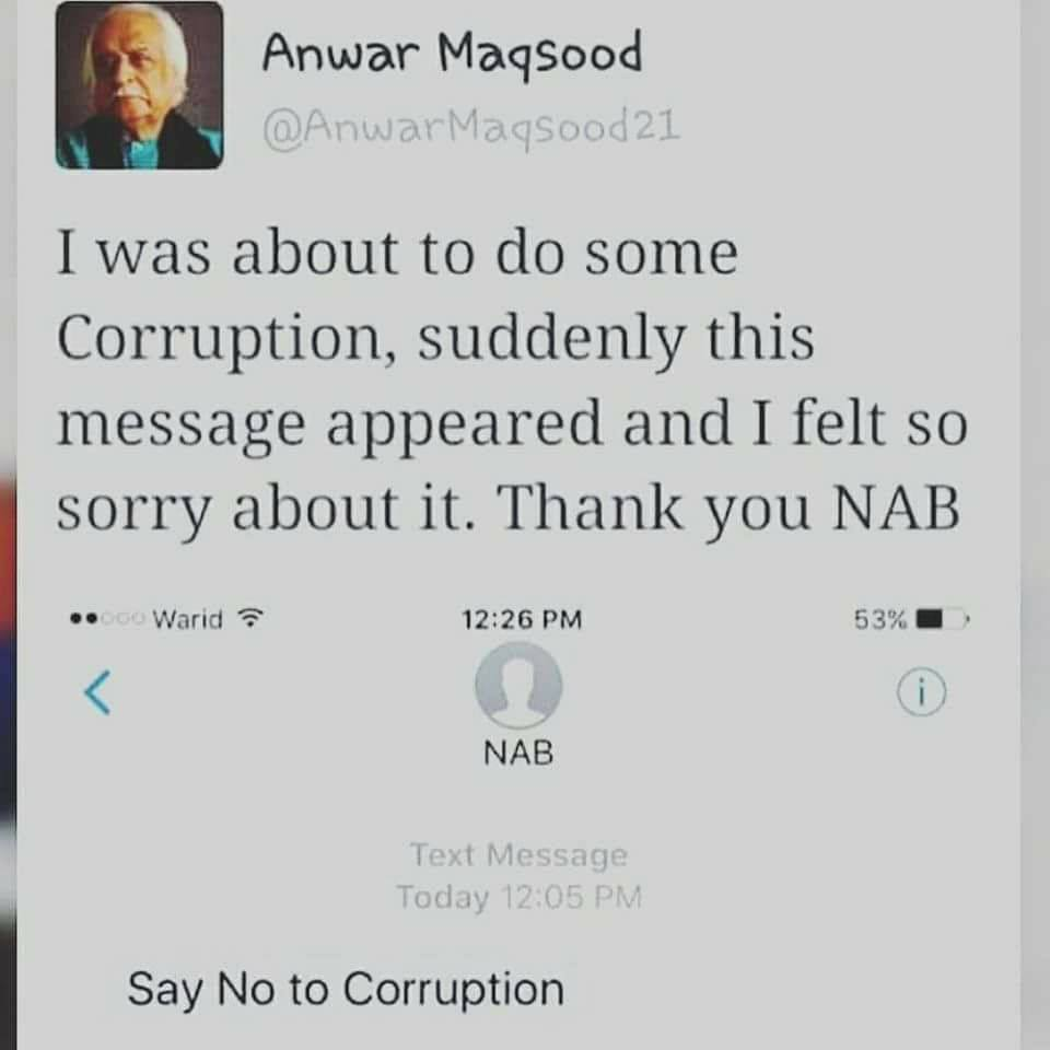 Anwar Maqsood About Say No To Corruption