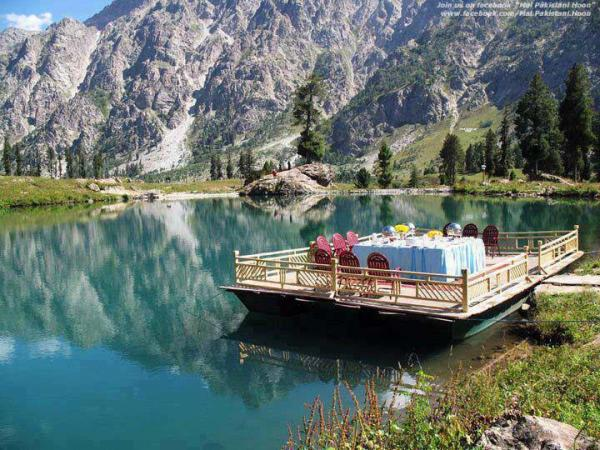Beautiful view of Domial Lake in Skardu , Gilgit Baltistan